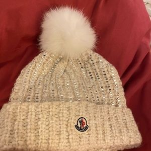 Ivory moncler hat with rhinestones